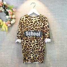 Fashion Leopard Girls Long Shirts