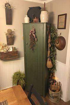 My primitive farmhouse dining room. Corner chimney cabinet.