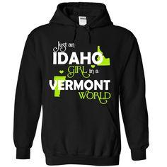 An IDAHO VERMONT GIRL T-Shirts, Hoodies. ADD TO CART ==► https://www.sunfrog.com/States/An-IDAHO-2DVERMONT-girl-Lime03-Black-Hoodie.html?id=41382