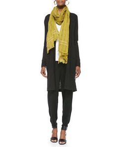 Merino Wool Long-Sleeve Cardigan, Airy Grid-Striped Linen/Wool Scarf, Organic Cotton Slim Tank & Slouchy Drawstring-Waist Ankle Pants by Eileen Fisher at Neiman Marcus. Minimalist Fashion Women, Minimalist Chic, Joggers Outfit, Cool Style, My Style, French Chic, Striped Linen, Wool Scarf, Ankle Pants