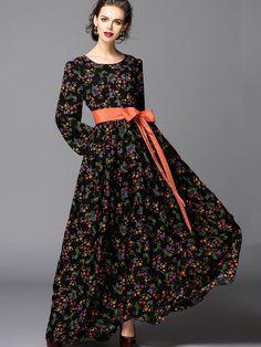 Robe+imprimé+manches+longues+col+rond+avec+ceinture+-multicolore++63.59