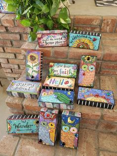 Teacher Gift, End-of-Year Teacher Gifts, Painted Bricks Painted Bricks Crafts, Brick Crafts, Painted Pavers, Hand Painted Rocks, Painted Books, Painted Stones, Brick Projects, Door Crafts, Brick And Stone