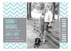 Save the Date: Chic Chevron Aqua Photo Card