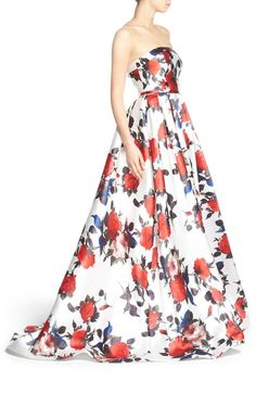 Free shipping and returns on Mac Duggal Floral Print Strapless Gown at Nordstrom.com. Lush roses in full bloom float across the crisp white background of this full-skirted strapless gown with over-the-top retro charm.
