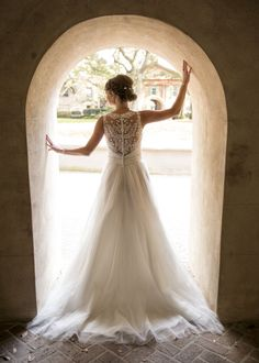Beautiful Bridal Portraits - back of wedding dress with lace detail and buttons - Charleston Crafted