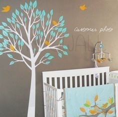 Art Wall Sticker Wall Decal Tree Decal  - Garden Tree with Birds Nursery Decal( Large) - 056. $95.00, via Etsy.