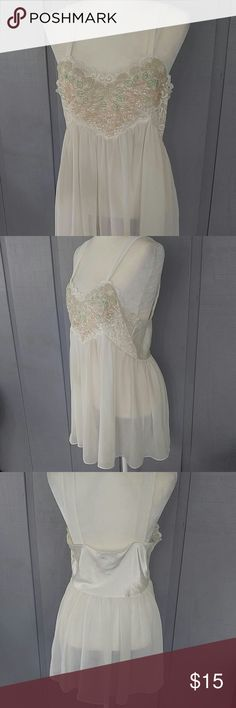 Vintage Val Mode lingerie Bodice has gorgeous floral pattern with sequins lace and pearls.  The rest of the fabric is sheer. Val Mode Intimates & Sleepwear Chemises & Slips