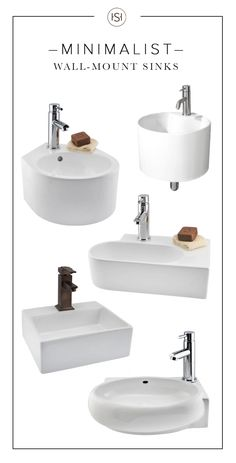 With their clean lines and modern shapes, these wall-mount sinks are the perfect. - With their clean lines and modern shapes, these wall-mount sinks are the perfect match for any mini - Modern Bathroom Sink, Modern Sink, Wall Mounted Bathroom Sinks, Wall Mount Faucet, Tiny Bathrooms, Bathroom Design Small, Minimalist Bathroom, Minimalist Interior, Minimalist Kitchen