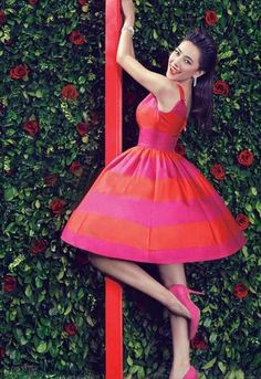 Pink Red Color Block Backless Sleeveless Celebrity Pouf Dress