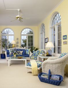 A blue and yellow sunroom for my canaries to enjoy as well as a sitting time for me and my friends.