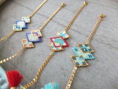 Shop and discover emerging brands from around the world Seed Bead Jewelry, Bead Jewellery, Loom Patterns, Beading Patterns, Beaded Bracelet Patterns, Beaded Bracelets, Bead Crochet Rope, Handmade Beaded Jewelry, Bracelets