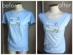 """*Lots of details and involves sewing+ elastic. Don't do the ties. Refashion Co-op: A """"Too-Big"""" T-shirt Transformation"""