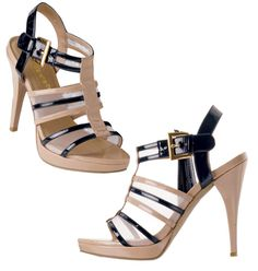 """FOREVER selected by Paula Abdul Lacy Affair Strappy Heel- patent-leatherlike and mesh upper. Padded footbed. 4"""" H heel. Skid-resistant sole. Whole sizes only. Half sizes, order one size up. Sizes range from 6-10. Shop online at tashina.avonrepresentative.com"""