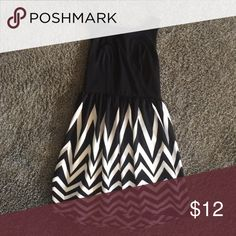 Black and white dress Black solid top with a white and black zig zag bottom Xhilaration Dresses Asymmetrical