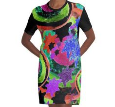 Graphic T-Shirt Dress #retro #80s #abstract #dayglow