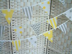 Mini-bunting Grey & Yellow per Metre Banner Nursery Playroom Chevrons Spots for sale online Mini Bunting, Bunting Banner, Star Nursery, Grey Yellow, Playroom, Chevron, Holiday Decor, Unique Jewelry, Handmade Gifts