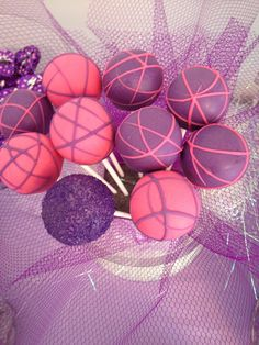 Cake pops -purple and pink -owl throne candy Bar