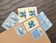 True Blue LOVE .. UNused Vintage Postage Stamps  .. post 5 letters on Etsy, $6.95