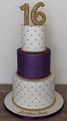 Pretty Image of Sweet 16 Birthday Cake . Sweet 16 Birthday Cake Sweet Sixteen 16 Birthday Cake Elegant Clean Plum Royal Purple And Elegant Birthday Cakes, Sweet 16 Birthday Cake, 60th Birthday Cakes, Gold Birthday Cake, Happy Birthday, Birthday Cake Toppers, 16th Birthday, Birthday Recipes, Birthday Parties