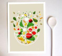 La verdura print - Vegetable art 11x15 - archival fine art giclée print. $45.00, via Etsy.