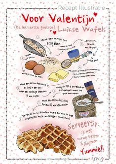 Luikse wafels speciaal voor Valentijn. Lekker makkelijk om te maken. Geserveerd met ijs, warme kersen en slagroom een echt verwen recept voor je liefste. Illustraties van Irms, kijk voor meer geillustreerde recepten op Irmsblog.nl. #recipe #valentinesday #illustration #graphicdesign #infographic Making A Cookbook, Recipe Drawing, Sketch Note, Delicious Desserts, Yummy Food, Savory Waffles, Cute Food Art, Chocolate Pastry, Watercolor Food