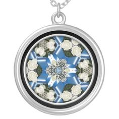 #White #Roses & #Blue #Ribbons #Kaleidoscope Necklace...#necklaces #jewelry #roses #flowers #floral #colorful #RoseSantuciSofranko #Artist4God #RosesRoses #Zazzle #accessories #customizable  #blooms #blossoms #buds #nature #petals #photography #forsale #pendants