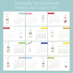 Calendar . 2014 Calendar . Calendar 2014 . Office Calendar . Desktop Calendar - Mason Jar Collection