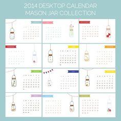 Calendar . 2014 Calendar . Calendar 2014 . Office Calendar . Desktop Calendar - Mason Jar Collection