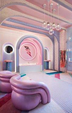 "As part of the edition of the Casa Decor in Madrid, the designer Patricia Bustos created ""Wonder Galaxy"", a retro-futuristic dressing room. Home Design, Café Design, Home Interior Design, Interior Architecture, Interior And Exterior, Design Ideas, Futurism Architecture, Interior Design Exhibition, Futurism Art"
