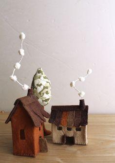 Miniature felt houses with tree