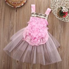 Sewing Baby Girl Rosette Pink and Gold Sequin Baby Romper with Tulle Skirt – Angora Boutique - This pretty romper is fit for the tiniest princess! Perfect for photoshoots or birthdays! Baby Girl Jumpsuit, Romper Dress, Baby Girl Romper, Floral Romper, Baby Girl Newborn, Tulle Dress, Baby Dress, Baby Tutu, Tulle Tutu