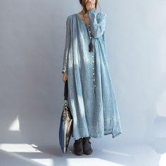 Casual loose linen women maxi dress long sleeve - buykud  - 3: