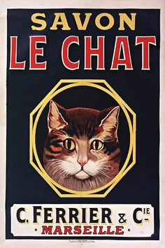 Soap Le Petit Chat Black Cat Marseille Vintage Poster Repro FREE S//H in USA