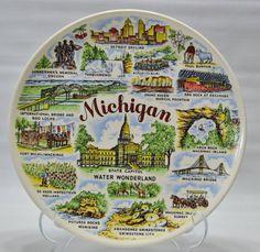 Vintage Michigan State Souvenir Plate