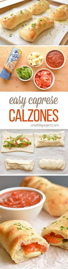These caprese calzones are so easy to make and they taste SO GOOD! Only 5 ingredients and they take less than 10 min to prepare. The fresh basil and tomato flavors are amazing! yummy meals freezer cooking Easy Caprese Calzones - One Little Project Veggie Recipes, Cooking Recipes, Healthy Recipes, Easy Vegitarian Recipes, Vegetarian Casserole, Healthy Wraps, Pizza Casserole, Tilapia Recipes, Vegetarian Recipes