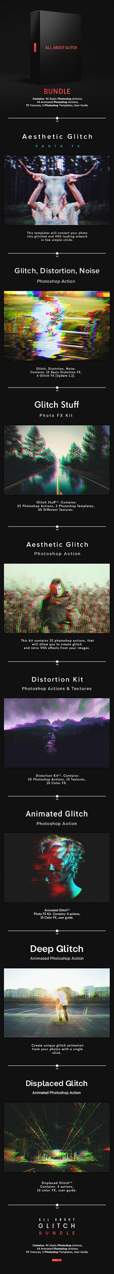All About Glitch Bundle — Photoshop Action  #hipster #action • Download ➝ https://graphicriver.net/item/all-about-glitch-bundle/20510650?ref=pxcr