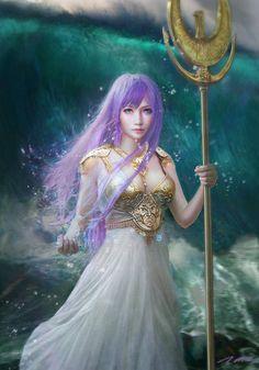 A deusa Athena em um fanart realista.