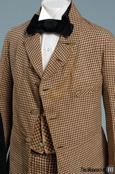 eMuseum - View MediaMan's suit Medium: Brown and white cotton and linen Date: 1840s Country: USA