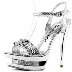 Save 10% + Free Shipping Offer * | Coupon Code: Pinterest10 Material: Man Made Material. 5 inches, 1.5 inch Platform True to size, Evening dress Shoes Product Code: Alude-08 Silver color Women's Celeste Alude-08 Silver Color Evening Triple Platform Sandals
