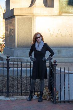 IMG_5370 In ASheville, Black Ann Taylor dress( older) target grey fur stole, #Sofft boots