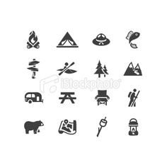 Camping and Outdoors Symbols Royalty Free Stock Vector Art Illustration