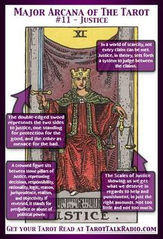 The origins of the Tarot are surrounded with myth and lore. The Tarot has been thought to come from places like Wicca, Pagan, Justice Tarot, Tarot Cards Major Arcana, Rider Waite Tarot Cards, Chakras, Tarot Cards For Beginners, Tarot Card Meanings, Card Reading