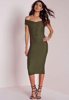 Missguided - Crepe Bardot Midi Dress Khaki