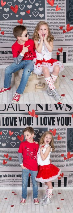 Valentine's Photo Session Featuring Daily News Backdrop from Backdrop Express | Photo by Stacey Wright Photography