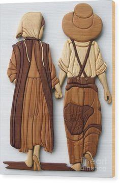 Amish Friends Wood Print by Bill Fugerer