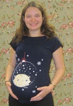 Christmas Ornament Maternity shirt Christmas Bauble by Coockuboo