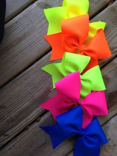 Neon cheer bow by AnnieMaeandWes on Etsy