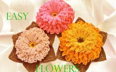 Como tejer fácil y rápido flores con hojas en una sola tira - Make Knitt...