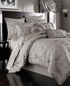 J Queen New York Bedding, Claremont Comforter Sets- Macys.com  -would look awesome with my black bedframe, black sheets and some black accent pillows.