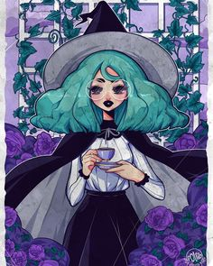 Tea #artistsoninstagram #digitalart #witch #animeart #vintage #animegirl #poliip
